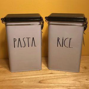 Rae Dunn rice and pasta tin set